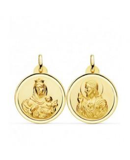 Escapulario Medalla Unisex Oro 18 ktes Tamaño 20 mm Sagrado Corazón y Virgen del Carmen - 000020503