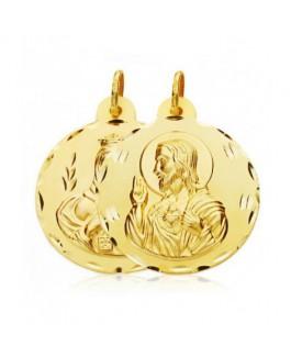 Escapulario Medalla Unisex Oro 18 ktes Tamaño 24 mm Virgen del Carmen y Sagrado Corazón - 000021028