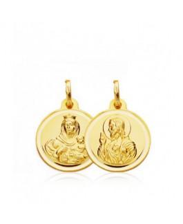 Escapulario Medalla Bebés/Niño Oro 18 ktes Tamaño 16 mm Sagrado Corazón y Vírgen del Carmen - 000021738