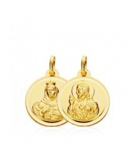 Escapulario Medalla Unisex Oro 18 ktes Tamaño 18 mm Sagrado Corazón y Virgen Del Carmen - 000022230