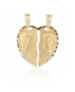 Colgante Mujer Oro18 ktes Macizo Mate y brillo Corazón partido Tamaño 23 x 30 mm - 000022032
