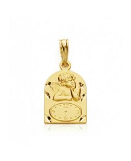 Medalla Bebé Oro Amarillo 18 ktes Reloj Ángel de la Guarda Tamaño 11 x 16 mm - 000022103