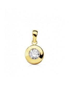 Colgante de Mujer Oro Amarillo 18 ktes Chatón Circonitas 9 mm - 000022515