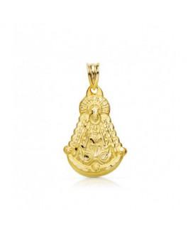 Virgen del Rocío Medalla Unisex Comunión Oro 18 ktes Silueta Tamaño 17 x 26 mm - 000022589
