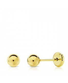 Pendientes Bebé/Niña Oro 18 ktes Amarillo Bolitas Tamaño 5 mm - 000022730