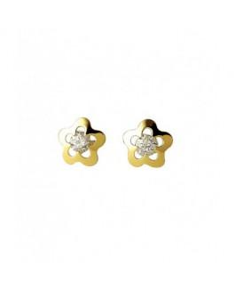 Pendientes Niña Oro 18 ktes Flor Circonita Tamaño 6 mm - 000022741