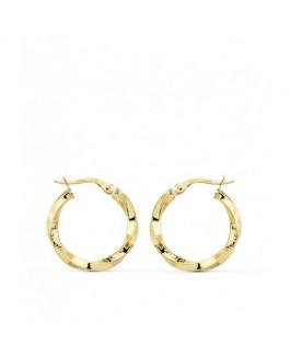 Pendientes Aros Mujer Oro 18 ktes Rizados Tamaño 2,5 x 20 mm - 000150450