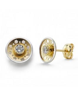 Pendientes Comunión Niña Oro Bicolor 18 ktes Circonita Tamaño 7 mm - 000150520