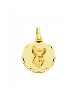 Medalla Bebé/Niño Oro 18 ktes Niño Jesús Maciza Tamaño 16 mm - 000150606