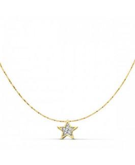 Colgante Mujer Oro Bicolor 18 Ktes Estrella Medida 42 cm - 000150623