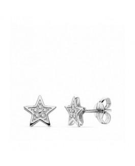 Pendientes Niña Oro Blanco 18 ktes Estrellas Circonita Presión Tamaño 6 mm - 000150734