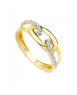 Anillo de Mujer Oro Bicolor 18 ktes Circonitas Talla 15 - 000150773