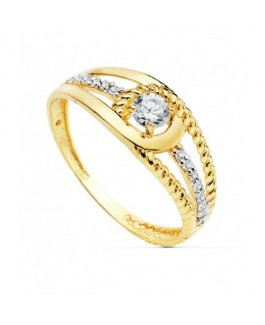 Anillo Mujer Oro Bicolor 18 ktes Circonita Talla 14 - 000150774
