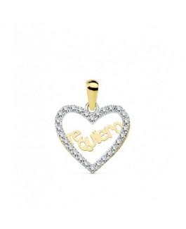 Corazón Colgante Mujer Oro Bicolor 18 ktes Te quiero Circonitas Tamaño 15 x 14 mm - 000150790