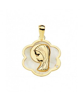 Medalla Niñas Comunión Oro Amarillo 18 ktes Nácar Tamaño 17 x 20 mm - 000150803