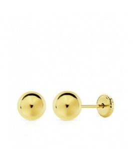 Pendientes Niñas Oro Amarillo 18 ktes Bolitas Tamaño 7 mm - 000207079