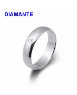 Alianza Mujer Plata Lisa Tamaño 1 x 4,5 mm Diamante 0,02 ctes Talla del 10 al 16 - 000610428