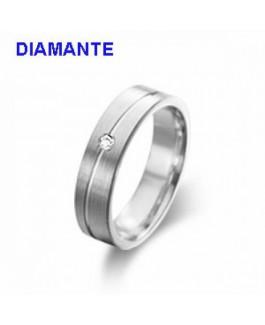 Alianza Mujer Plata Mate Diamante 0,02 ctes Tamaño 1,5 x 5 mm Talla del 10 al 16 - 000610422