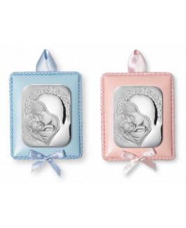 Medallón de Cuna Niña Plata Bilaminada Tamaño 7 x 9 cm Virgen y Niño Rosa - 10255/R
