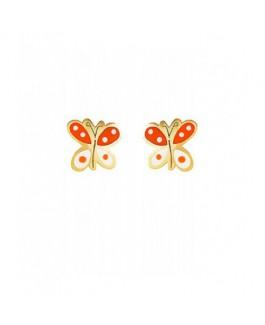 Pendientes Comunión Niña Oro Amarillo 18 ktes Mariposas Tamaño 7 mm - 000310023
