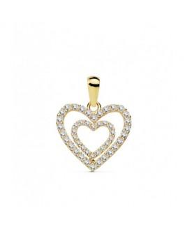 Colgante Mujer Corazón Oro 18 Ktes Circonitas Tamaño 15 x 14 mm - 000150843