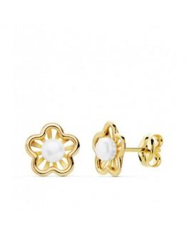 Pendientes Niña Comunión Oro 18 ktes Perlas Presión Tamaño 7 mm - 000150849
