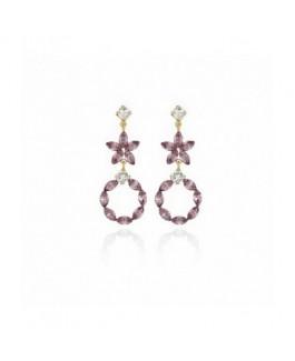 Pendientes Mujer Victoria Cruz Plata Chapada Flores Cristales Swarovski Tamaño 16 x 40 mm - 000180182