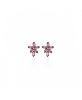 Pendientes Mujer Victoria Cruz Plata Chapada Flor Cristal Swarovski Tamaño 12 x 15 mm - 000180184
