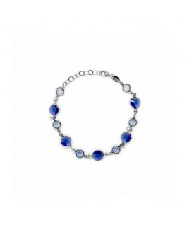 Pulsera Plata Mujer Cristal SWAROVSKI Azules Medida 18/20 cm - DM692-12P