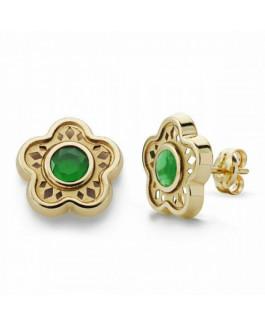 Pendientes Mujer Oro 18 Ktes Flor Piedra Verde Tamaño 10 mm - 000150858