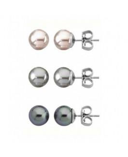 Majorica 13185.10.2.000.010.1 Pendientes de Mujer Pack 3 pares Perlas Rosa, Gris y Tahití 8 mm - 000450590