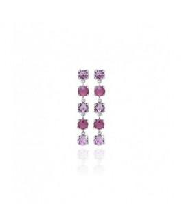 Pendientes Fiesta de Mujer Plata Cristales SWAROVSKI Presión Tamaño  6 x 45 mm - A3288-89T