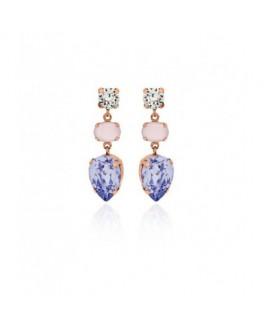 Pendientes Fiesta de Mujer Plata IP Rosé Cristales SWAROVSKI Presión Tamaño 10 x 33 mm - 000180119