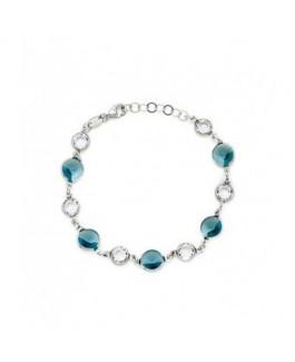 Pulsera Plata Mujer Cristales SWAROVSKI Azules 8 mm y Blancos 6 mm Medida 18/20 cm - DM692-24P