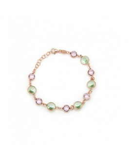 Pulsera Plata  Mujer Cristales SWAROVSKI Verdes 8 mm y Amatistas 6 mm Medida 18/20 cm - DM692-29P
