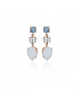 Pendientes Fiesta de Mujer Plata Cristales SWAROVSKI Presión Tamaño 10 x 33 mm - 000180127