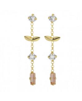 Victoria Cruz Pendientes Mujer Plata Chapada Cristales Swarvoski Hojas Tamaño 7 x 36 mm - 000180196