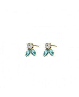 Victoria Cruz Pendientes Mujer Plata Chapada Cristales Tamaño 7 x 10 mm - 000180202