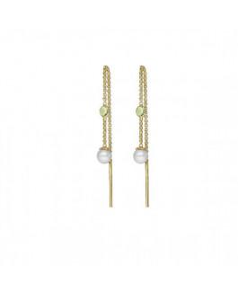 Victoria Cruz Pendientes Mujer Plata Chapada Perlas Cristales Swarovski Tamaño 5 x 42 mm - 000180208