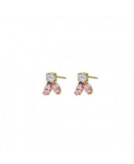 Victoria Cruz Pendientes Mujer Plata Chapada Cristales Swarovski Tamaño 8 x 10 mm - 000180203