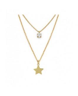 Colgante Mujer Victoria Cruz Plata IP Dorado Dos Cadenas Cristal Estrella medida 38/46 cm - 000180132